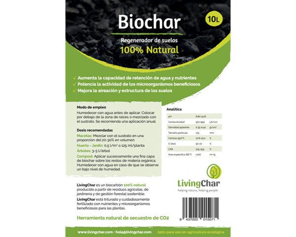 Biochar regenerador de suelos 10L